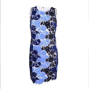 Calvin Klein blue black lace overlay sheath dress